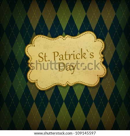 St. Patrick holiday greeting card. Raster version, vector file available in portfolio - stock photo