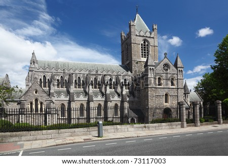 St. Patrick's Cathedral and blue sky in Dublin, Ireland, horizontal - stock photo