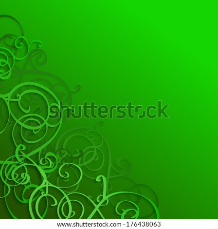 St. Patrick's day background in green colors. Raster version. - stock photo
