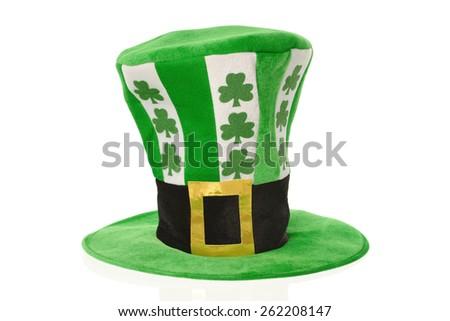 St. Patrick's Day celebration hat on white - stock photo