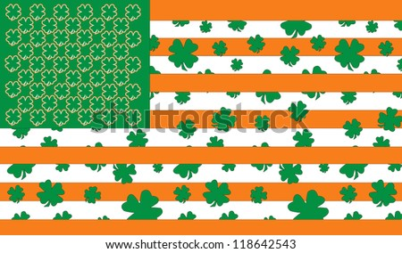 St Patrick's Day Celebrations in America portrayed through the American Flag - stock photo