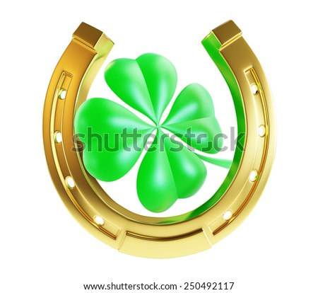 St. Patrick's day gold horseshoe  - stock photo