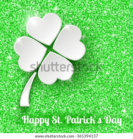 St. Patrick`s day Greeting Card Background with 3d White Paper Clover - stock photo