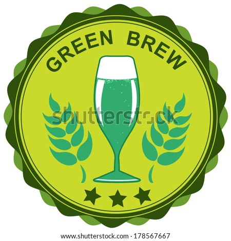 St. Patrick's day icon with a glass of ale: raster version - stock photo
