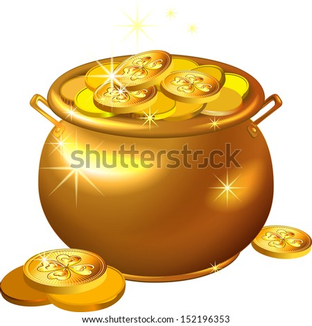 St. Patrick`s Day shiny gold pot filled with leprechaun coins isolated on the white background - stock photo