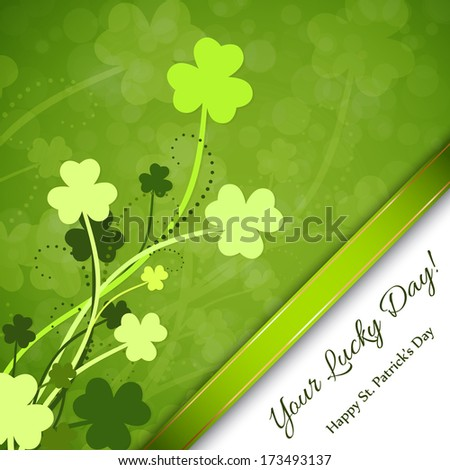 St. Patricks Day background with clover and green ribbon.  - stock photo
