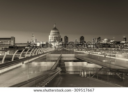 St Paul Cathedral at night - London. - stock photo