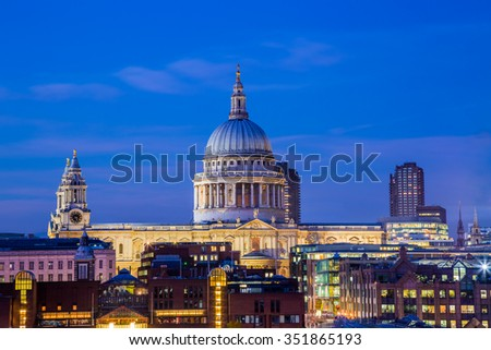 St. Paul's Cathedral at blue hour - London, UK - stock photo