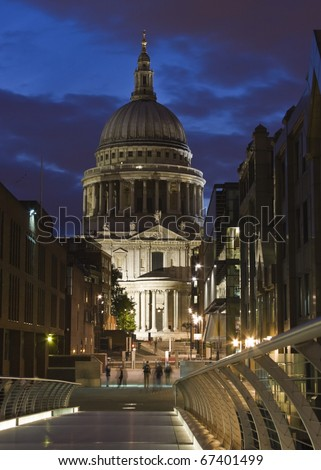 St Paul's Cathedral at night - stock photo