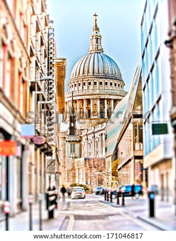 St Paul's Cathedral at the end of a street in London - stock photo