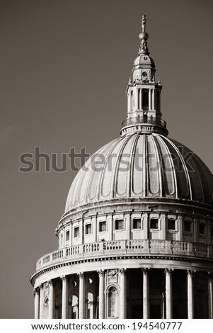 St Paul's cathedral closeup in London as the famous landmark.  - stock photo
