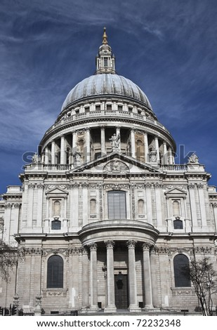 St. Paul's Cathedral from the south, as approached from Millenium Bridge. - stock photo
