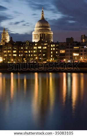 St. Paul's Cathedral Reflection, at Night - stock photo
