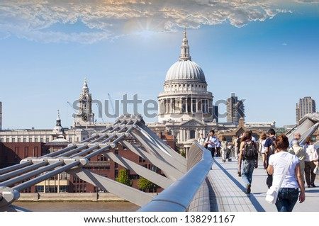 St Paul's Cathedral view by Millennium Bridge, London. - stock photo