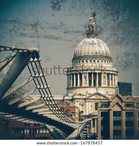 St Paul's Cathedral, vintage coasters - stock photo