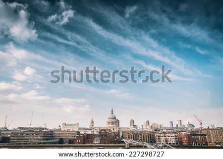St Paul's Cathedral with clouds and sky - stock photo