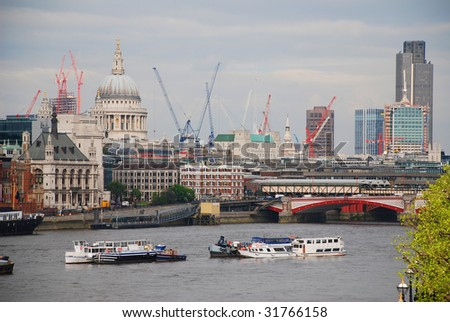 St Pauls and River Thames - stock photo