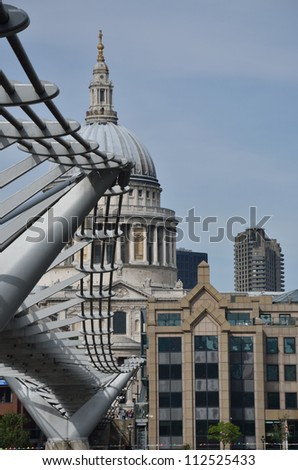 st paulsfrom  millenium bridge - stock photo