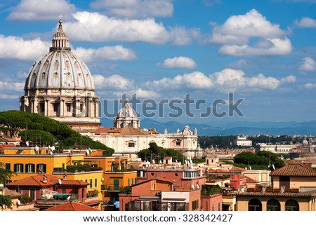 St.Peter and roofs of Rome - stock photo