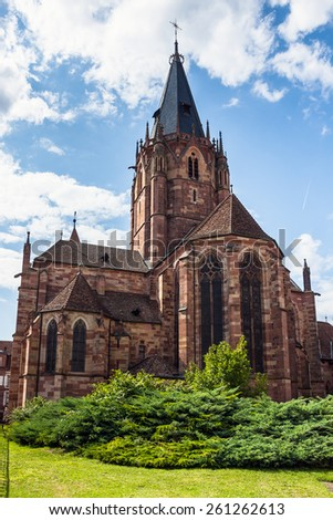St. Peter and St. Paul's church in the historical center city Wissembourg, Alsace, France - stock photo