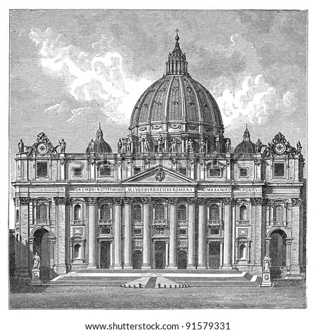 St. Peter Basilica - Rome (Italy) - Vintage illustration / illustration from Meyers Konversations-Lexikon 1897 - stock photo