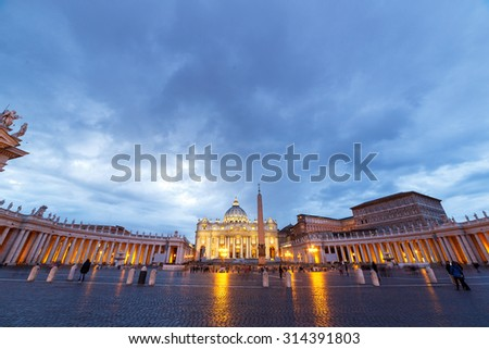 St. Peter's Basilica at SunSet. Zoom. Rome, Italy - stock photo