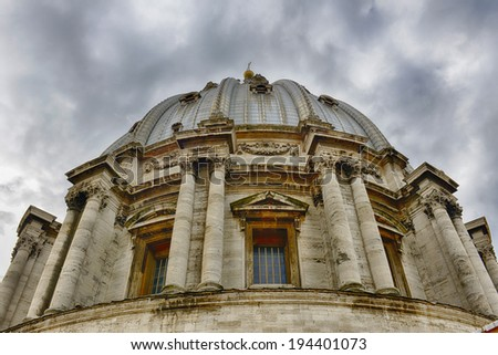 St. Peter's Basilica is a Late Renaissance church located within Vatican City. - stock photo
