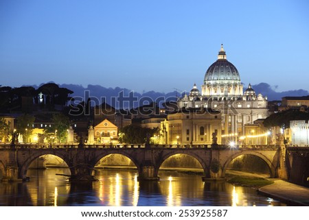 St Peter's Basilica,  Italy, at sunset - stock photo