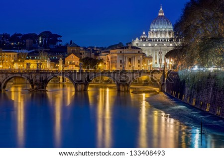 St. Peter's Cathedral and bridge St. Angelo at night, Rome - stock photo