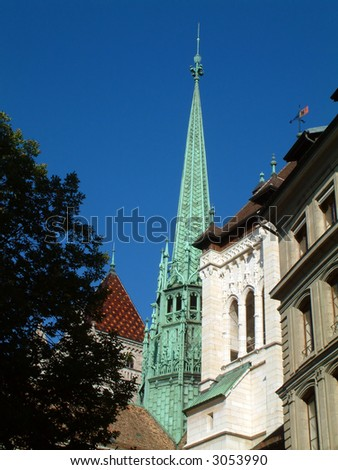 St. Peter's Cathedral Spire - stock photo