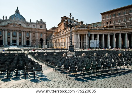 St. Peter's Square and Basilica, Vatican - stock photo