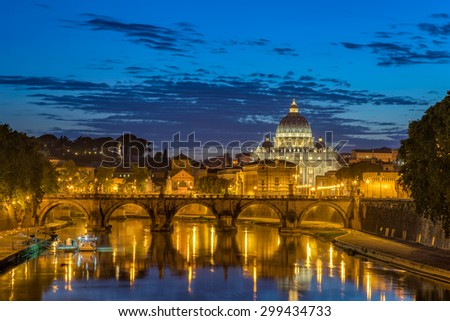 St Peters Basilica in the eternal city of Rome italy - stock photo
