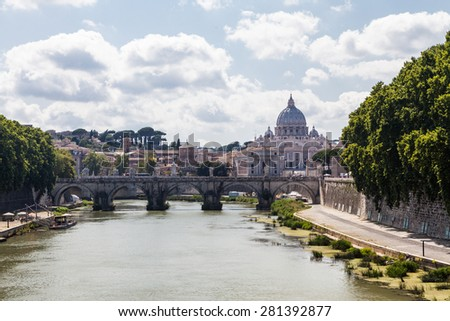 St. Peters Basilica, Vatican, Italy in summer - stock photo