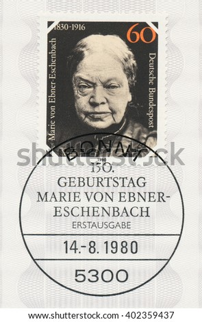 ST. PETERSBURG, RUSSIA - APR 7, 2016: A first day of issue postmark printed in Bonn, Germany, shows portrait of Marie von Ebner-Eschenbach (1830-1916), Writer, circa 1980 - stock photo