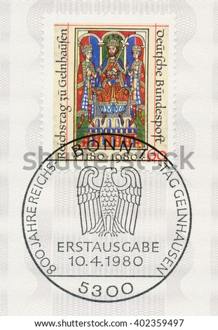 ST. PETERSBURG, RUSSIA - APR 7, 2016: A first day of issue postmark printed in Bonn, Germany, shows Emperor Frederick I (Barbarossa) and Sons, Welf Chronicles, 12th century and eagle, circa 1980 - stock photo