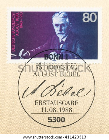 ST. PETERSBURG, RUSSIA - APR 25, 2016: A first day of issue postmark printed in Germany, shows August Bebel (1840-1913), Founder of the Social Democratic Party, circa 1988 - stock photo