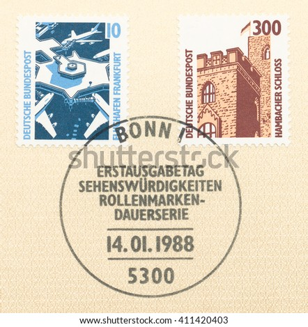 ST. PETERSBURG, RUSSIA - APR 25, 2016: A first day of issue postmark printed in Germany, shows Frankfurt Airport and Hambach Castle, circa 1988 - stock photo