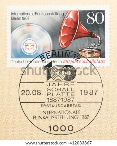 ST. PETERSBURG, RUSSIA - APR 27, 2016: A first day of issue postmark printed in Germany, shows Gramophone and compact disc. International Radio Exhibition, circa 1987 - stock photo