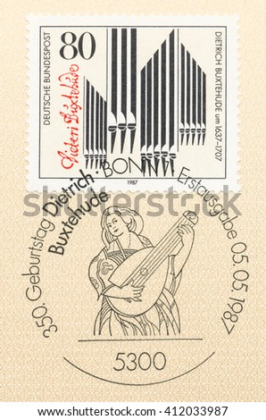 ST. PETERSBURG, RUSSIA - APR 27, 2016: A first day of issue postmark printed in Germany, shows Organ Pipes, Signature and woman with a lute. Dietrich Buxtehude (c. 1637-1707), composer, circa 1987 - stock photo