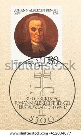 ST. PETERSBURG, RUSSIA - APR 27, 2016: A first day of issue postmark printed in Germany, shows portrait of Johann Albrecht Bengel (1687-1752), Lutheran Theologian, circa 1987 - stock photo