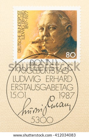 ST. PETERSBURG, RUSSIA - APR 27, 2016: A first day of issue postmark printed in Germany, shows portrait of Ludwig Erhard (1897-1977), Economist, Chancellor 1963-66, circa 1987 - stock photo