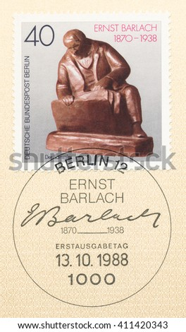ST. PETERSBURG, RUSSIA - APR 25, 2016: A first day of issue postmark printed in Germany, shows The Collector, 1913, by Ernst Barlach (1870-1938), circa 1988 - stock photo