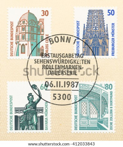 ST. PETERSBURG, RUSSIA - APR 27, 2016: A postmark Germany, shows Corner tower, Celle Castle. Filigree tracery on spires, Freiburg Cathedral. Bronze statue  Fame. Entrance to Zollern II, circa 1987 - stock photo