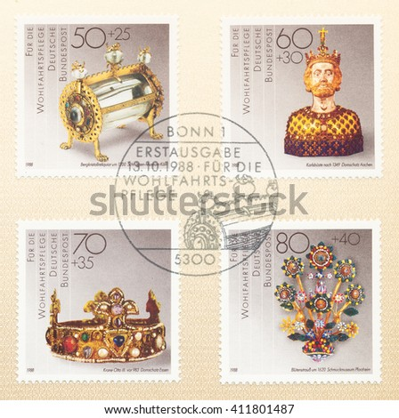 ST. PETERSBURG, RUSSIA - APR 25, 2016: A postmark printed in Germany, shows  Bust of Charlemagne 14th Aachen. Crown of Otto III 10th Essen. Flower bouquet, c.1620 Schmuck Museum Pforzheim, circa 1988 - stock photo