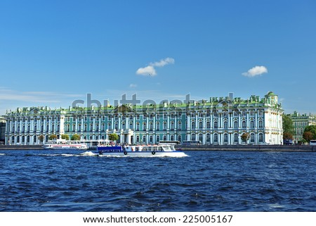 ST. PETERSBURG, RUSSIA-August 08: view from the Neva River at the Hermitage Museum and Winter Palace in Saint Petersburg, Russia, a major tourist attraction on August 08, 2014 - stock photo