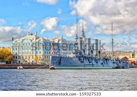 St. Petersburg, Russia, Aurora cruiser, the battleship sparked Great October Communist Revolution in 1917 - stock photo