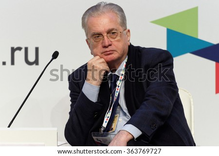ST. PETERSBURG, RUSSIA - DECEMBER 16, 2015: Director the State Hermitage Museum Mikhail Piotrovsky during the final plenary session of 4th St. Petersburg International Cultural Forum - stock photo