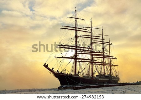 ST. PETERSBURG, RUSSIA - JANUARY 23, 2014: Barque Sedov pictured on January 23, 2014 in St. Petersburg, Russia. The ship was launched in Kiel in 1921 and participates regularly in big maritime international events - stock photo