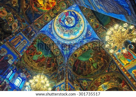 ST. PETERSBURG, RUSSIA - JANUARY 8, 2015: Church of the Savior on Spilled Blood interior decoration. It contains over 7500 square meters of mosaics designed by famous russian artists - stock photo