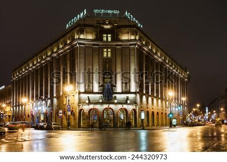 ST.PETERSBURG, RUSSIA - JANUARY 1: Hotel Astoria in January 1, 2015 in St.Petersburg, Russia. Hotel guests were Lenin, Prince Charles, Luciano Pavarotti, Madonna, Elton John, President George W. Bush - stock photo